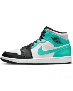Chaussures Air Jordan 1 Mid Blanc Noir Turquoise pour  Homme 554724-132