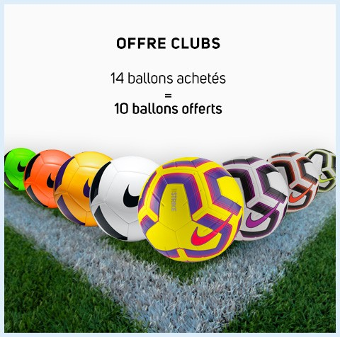 Lots de ballons Nike pour les clubs de football