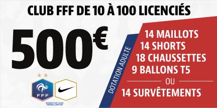 Club FFF de 10 à 100 licenciés